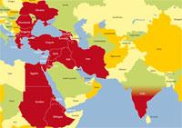 Carte du champ d'action de l'Œuvre d'Orient